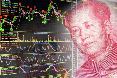 43906393 - charts of financial instruments including various type of indicator for technical analysis on the monitor of a computer, together with face of mao zedong on rmb yuan 100 bill